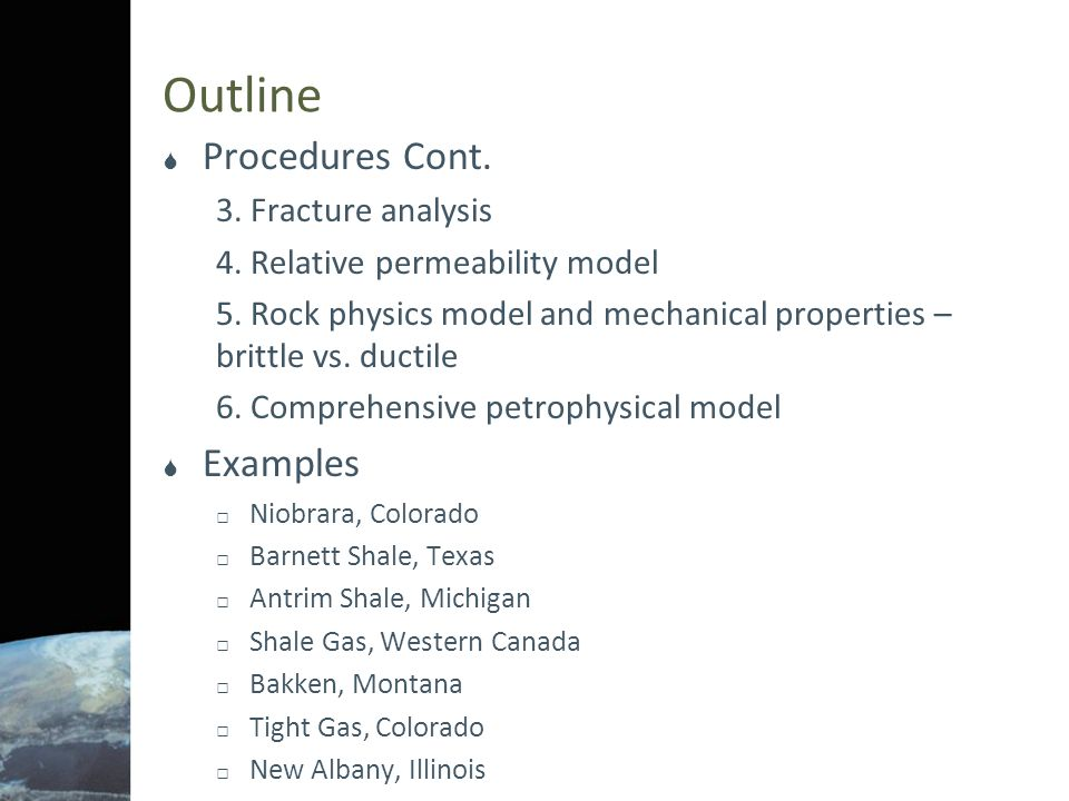 Outline Procedures Cont. Examples 3. Fracture analysis