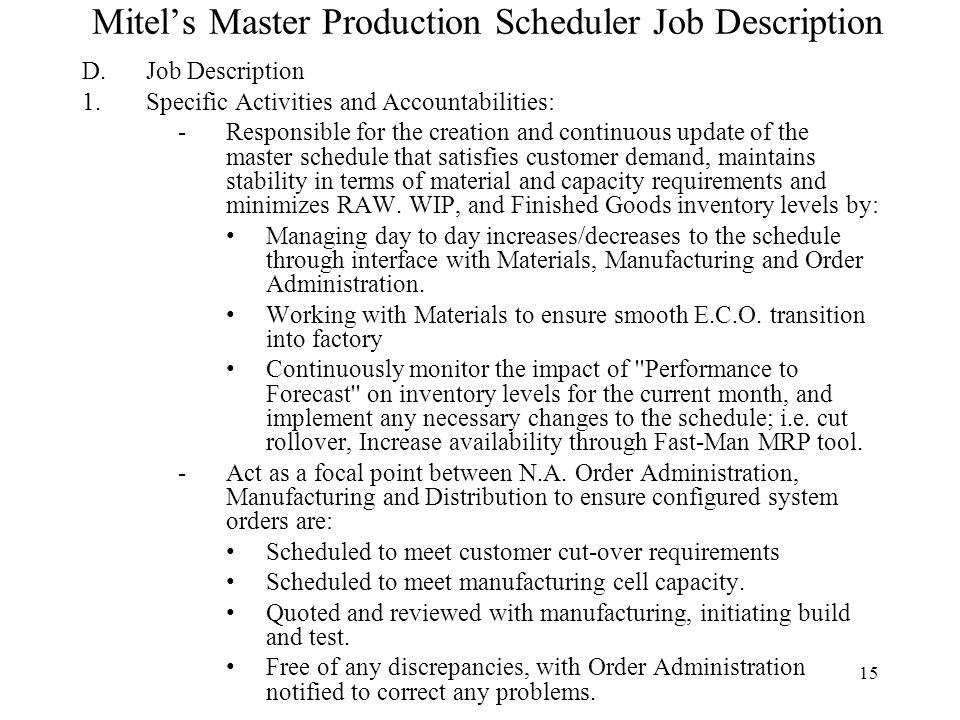 Mitelu0027s Master Production Scheduler Job Description