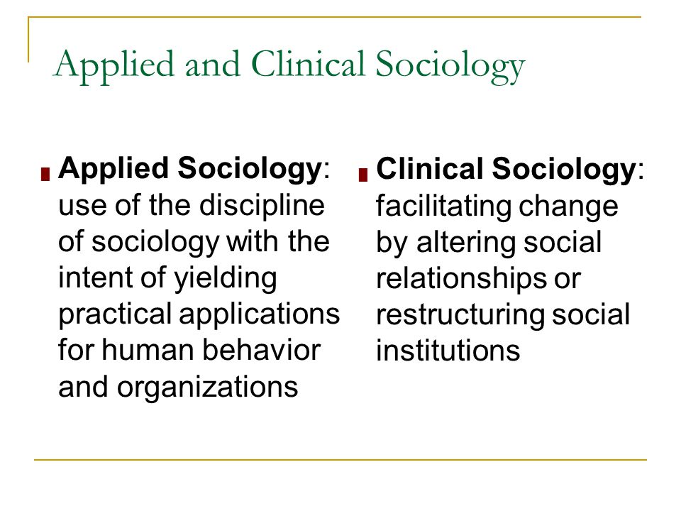 applied and clinical sociology