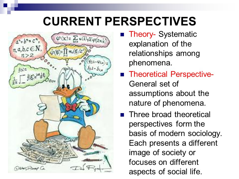 CURRENT PERSPECTIVES Theory- Systematic explanation of the relationships among phenomena.