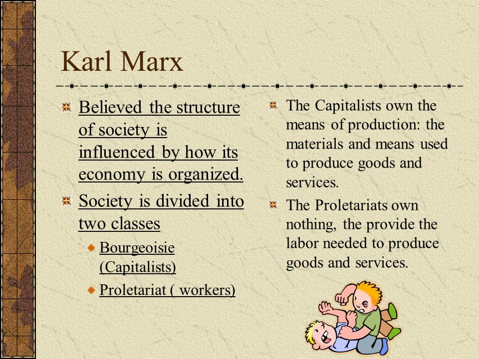 Karl Marx Believed the structure of society is influenced by how its economy is organized. Society is divided into two classes.