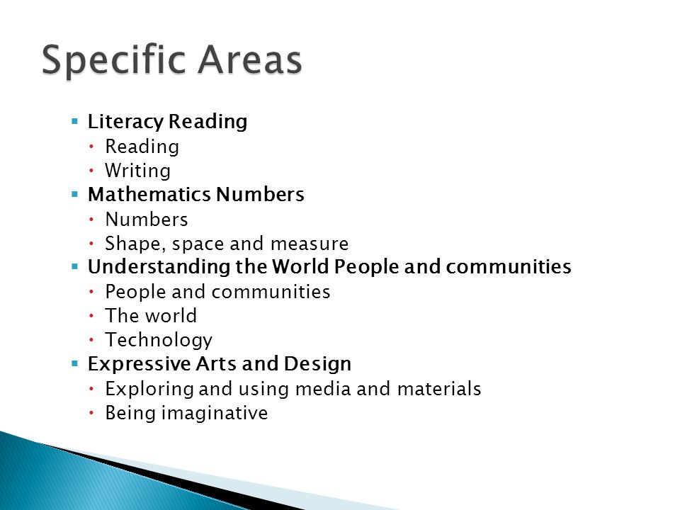 Specific Areas Literacy Reading Mathematics Numbers