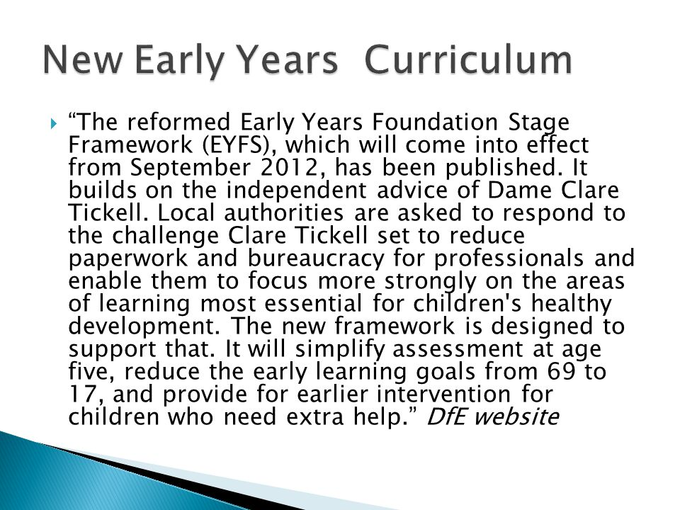 New Early Years Curriculum