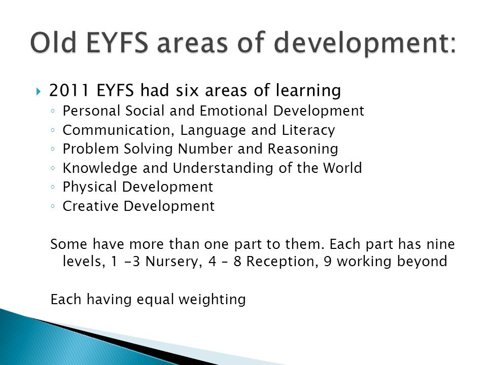 Old EYFS areas of development:
