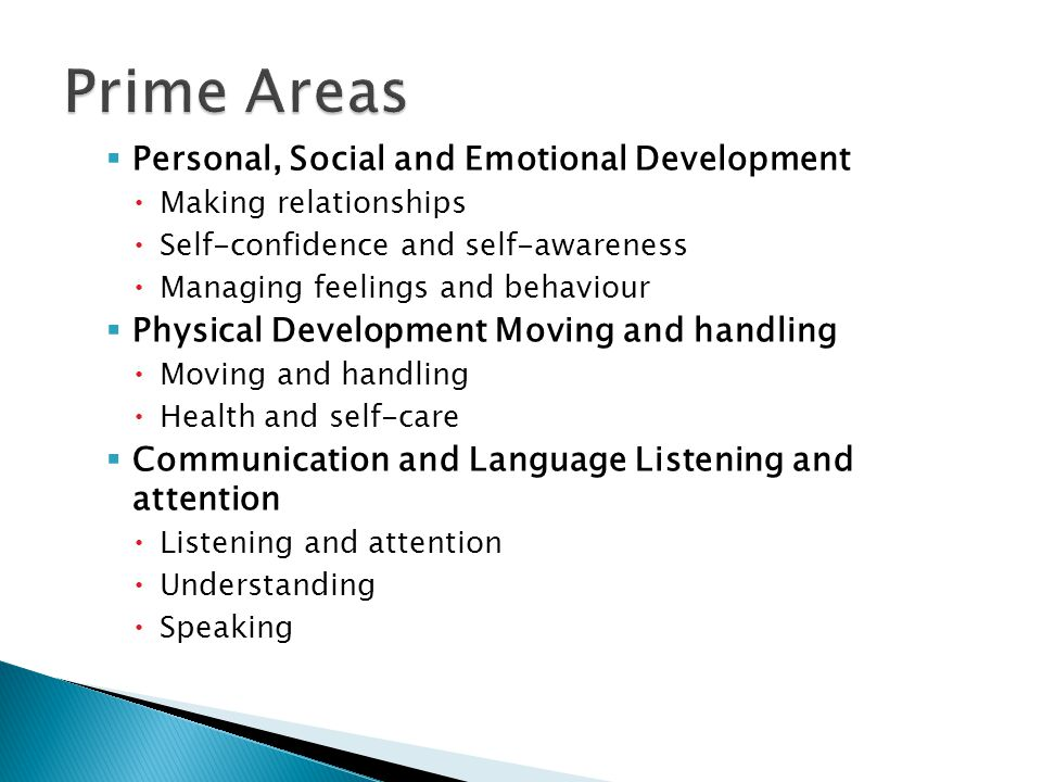 Prime Areas Personal, Social and Emotional Development