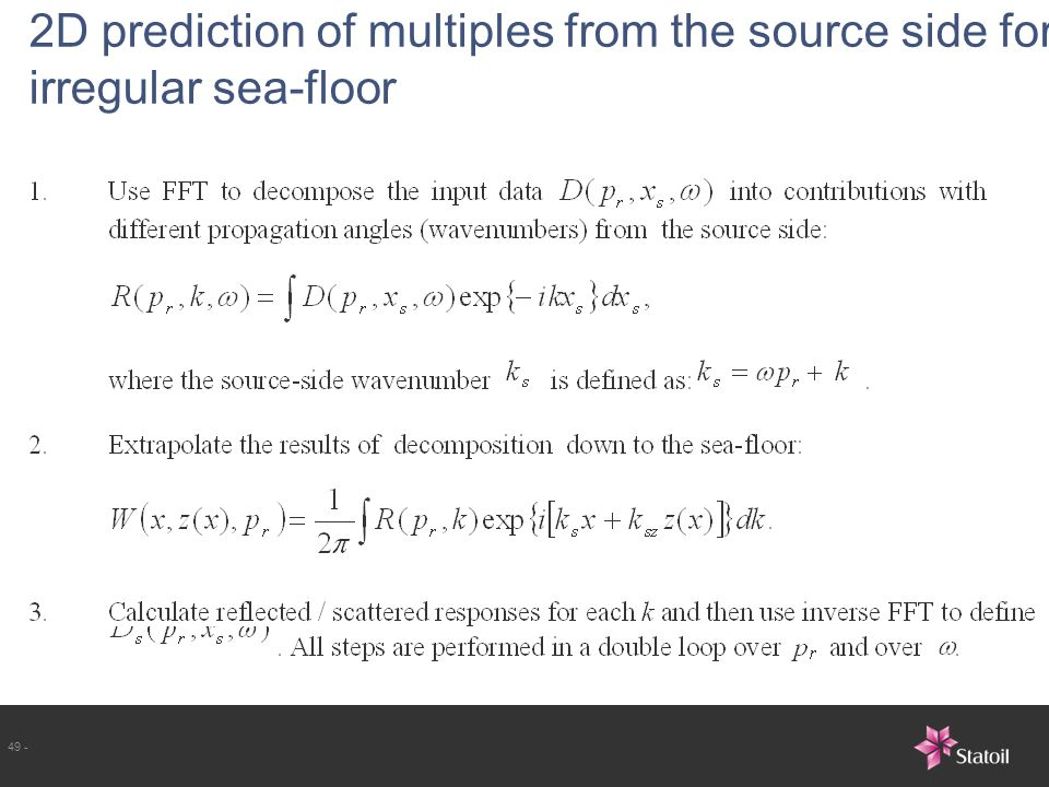 2D prediction of multiples from the source side for irregular sea-floor