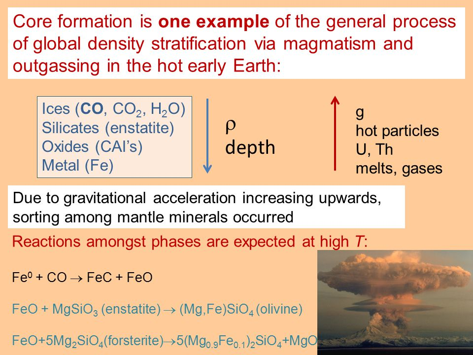 Core formation is one example of the general process of global density stratification via magmatism and outgassing in the hot early Earth: