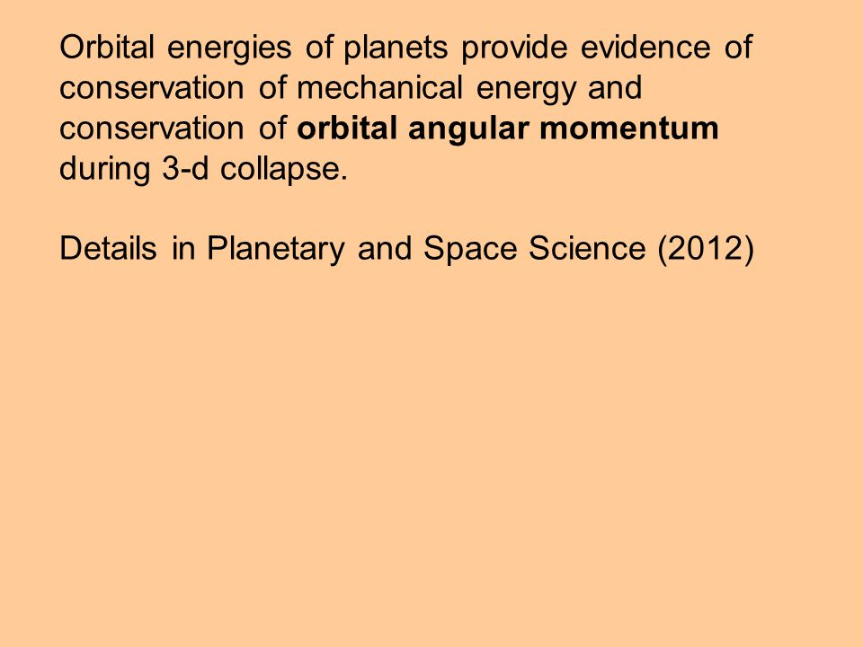 Orbital energies of planets provide evidence of conservation of mechanical energy and conservation of orbital angular momentum during 3-d collapse.