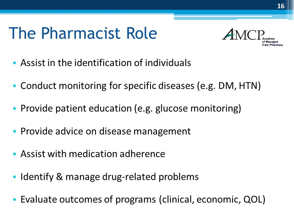 The Pharmacist Role Assist in the identification of individuals