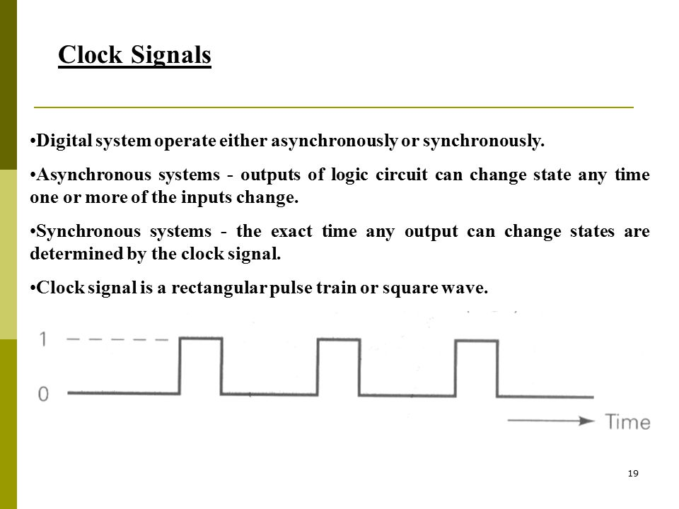 Clock Signals Digital system operate either asynchronously or synchronously.