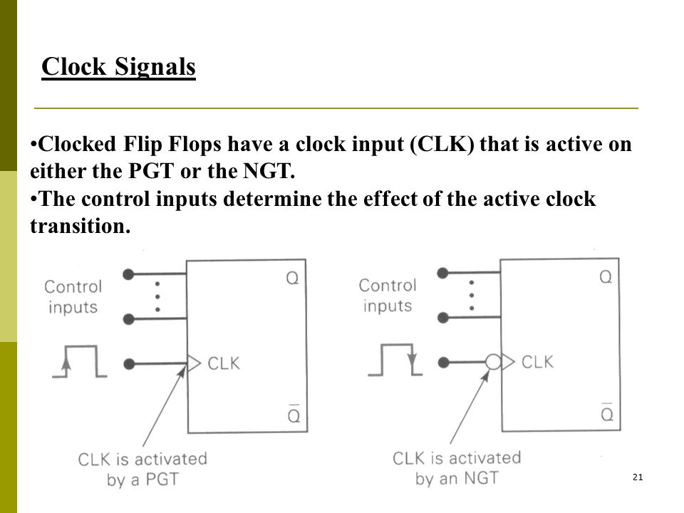 Clock Signals Clocked Flip Flops have a clock input (CLK) that is active on either the PGT or the NGT.