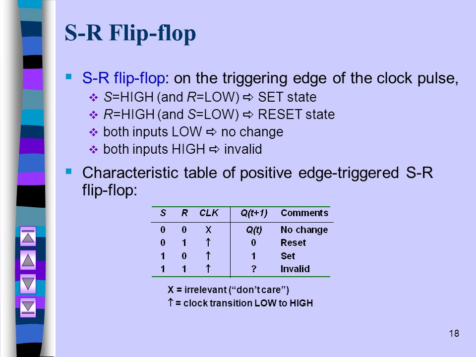 S-R Flip-flop S-R flip-flop: on the triggering edge of the clock pulse, S=HIGH (and R=LOW) a SET state.