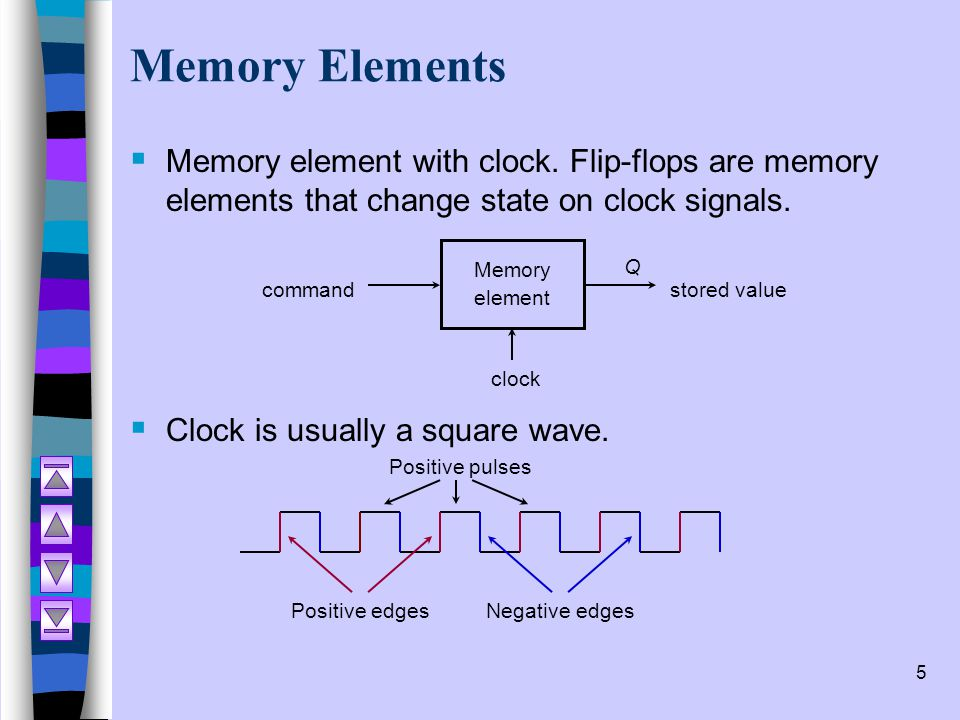 Memory Elements Memory element with clock. Flip-flops are memory elements that change state on clock signals.