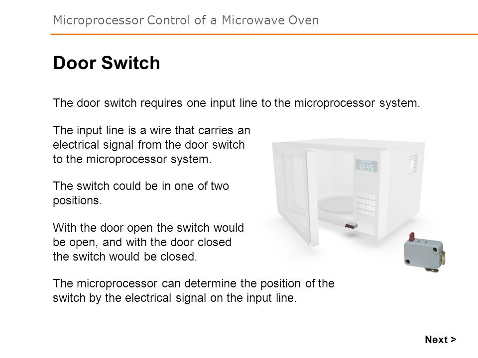 Door Switch The door switch requires one input line to the microprocessor system.