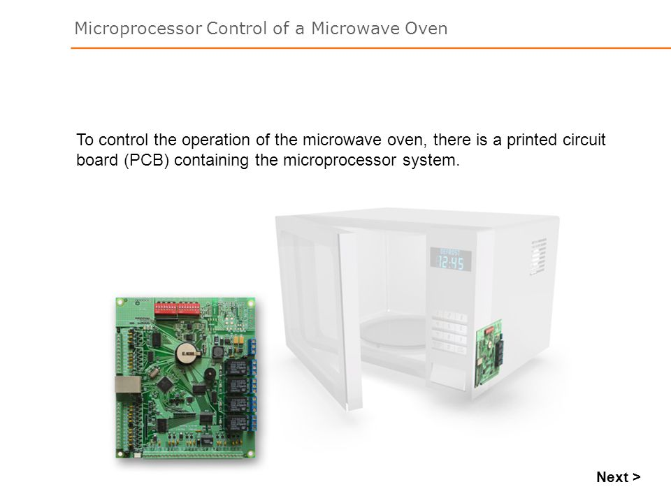 To control the operation of the microwave oven, there is a printed circuit board (PCB) containing the microprocessor system.