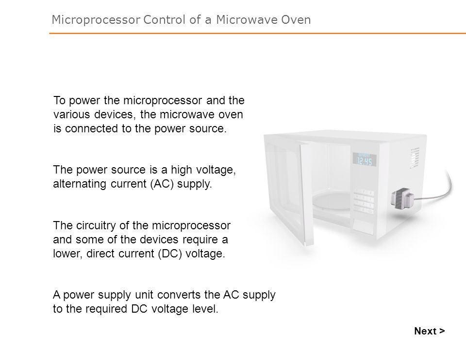 The power source is a high voltage, alternating current (AC) supply.