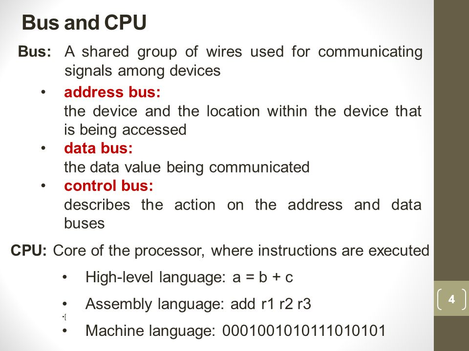 Bus and CPU Bus: A shared group of wires used for communicating signals among devices. address bus: