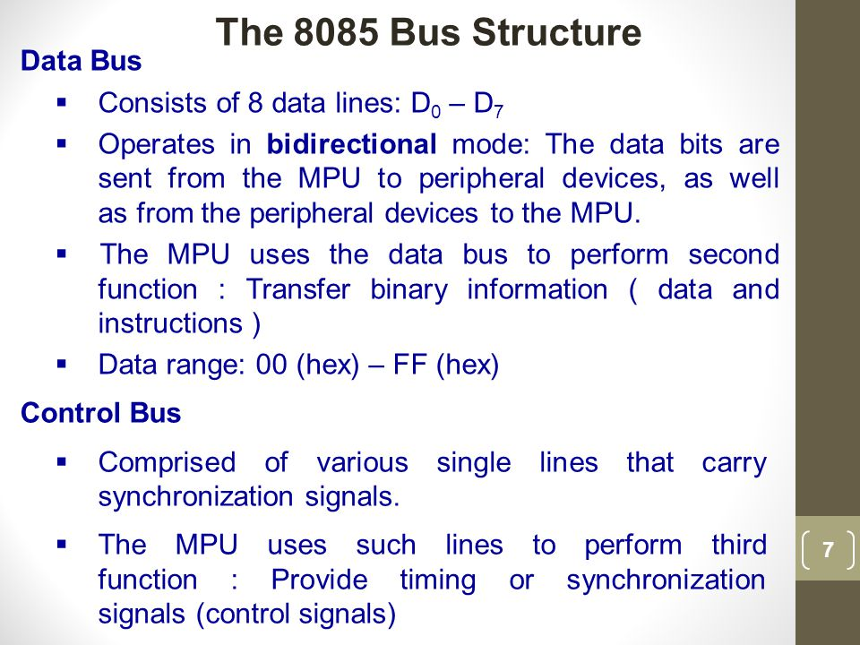 The 8085 Bus Structure Data Bus Consists of 8 data lines: D0 – D7