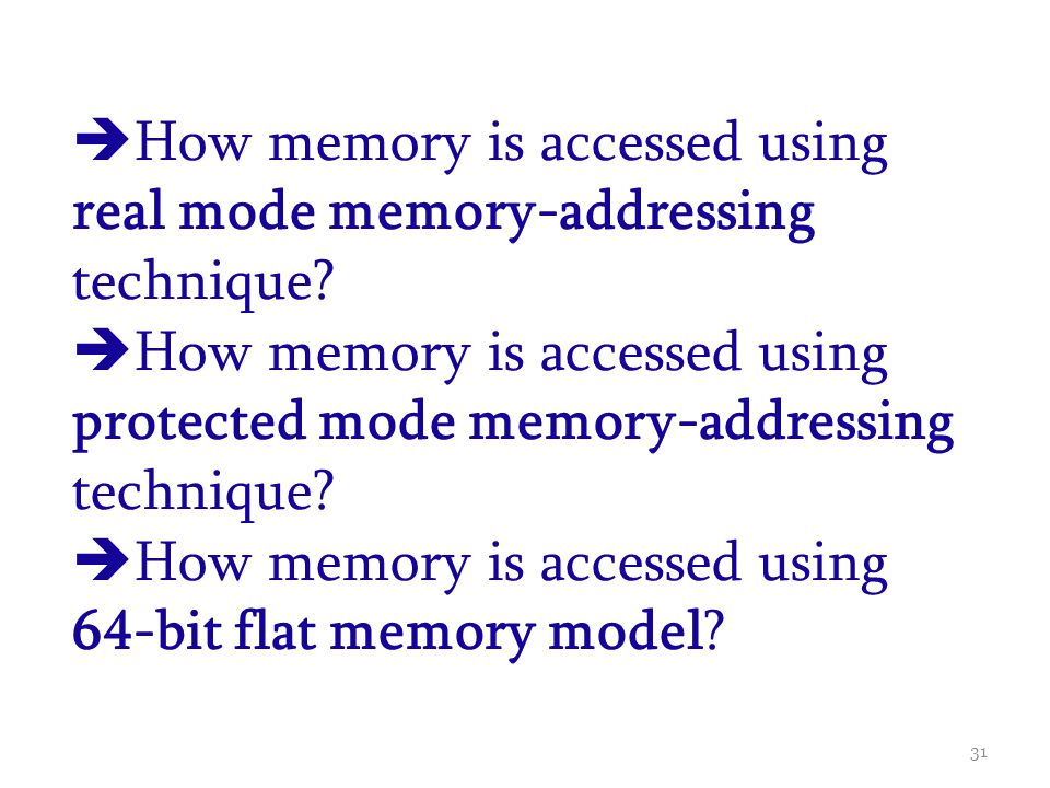 How memory is accessed using real mode memory-addressing technique