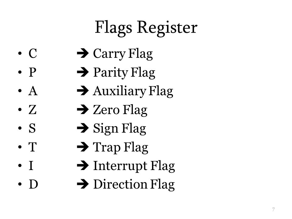 Flags Register C  Carry Flag P  Parity Flag A  Auxiliary Flag