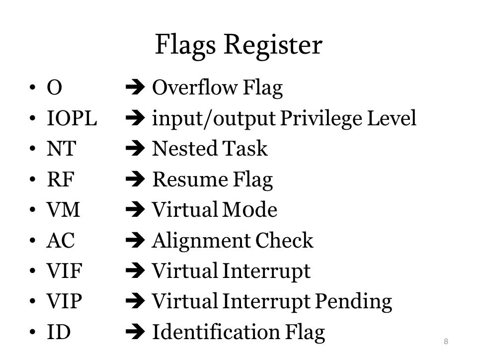 Flags Register O  Overflow Flag IOPL  input/output Privilege Level