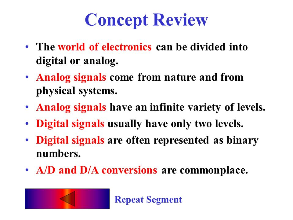 Concept Review The world of electronics can be divided into digital or analog. Analog signals come from nature and from physical systems.