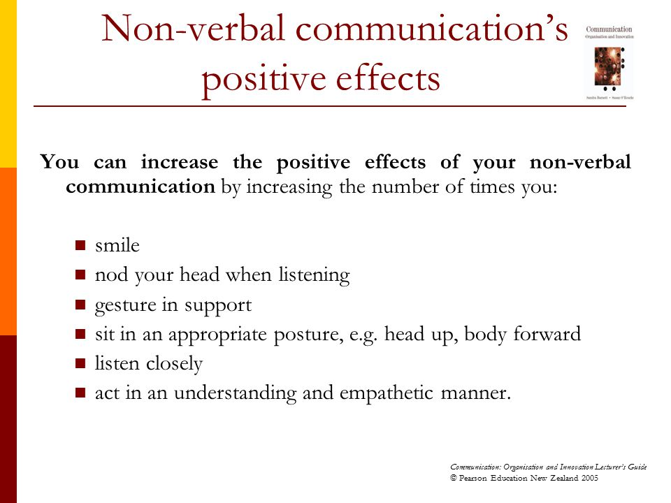 Non-verbal communication's positive effects