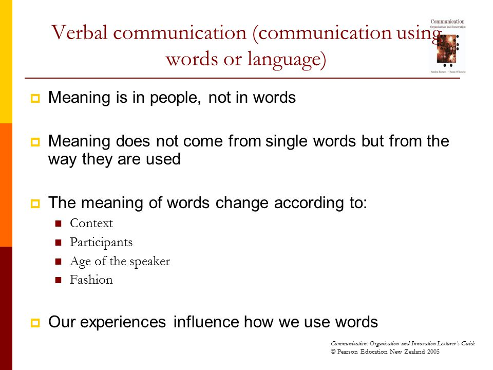 Verbal communication (communication using words or language)