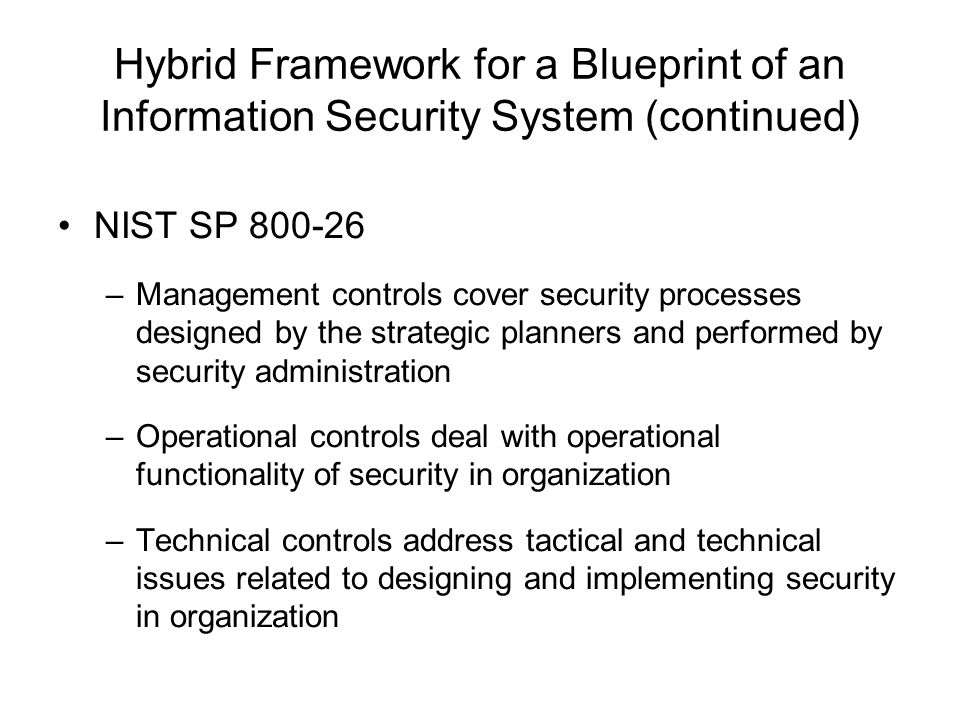 Information security blueprint ppt download hybrid framework for a blueprint of an information security system continued malvernweather Choice Image
