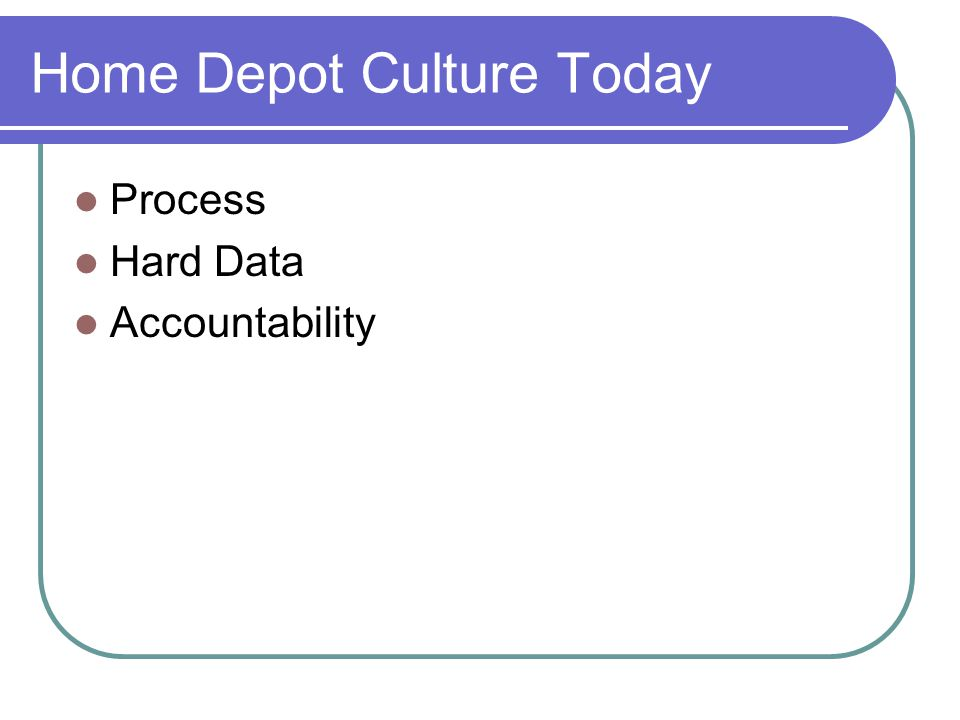 Home depots blueprint for culture change ppt video online download home depot culture today malvernweather Gallery