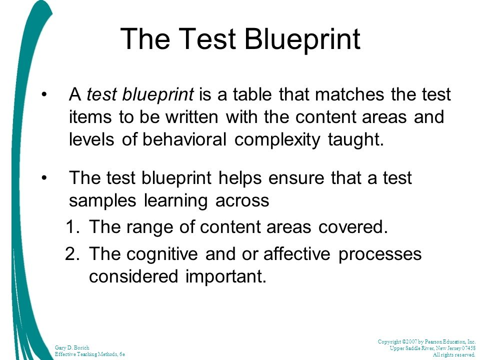 Gary d borich effective teaching methods 6th edition ppt video the test blueprint malvernweather Gallery