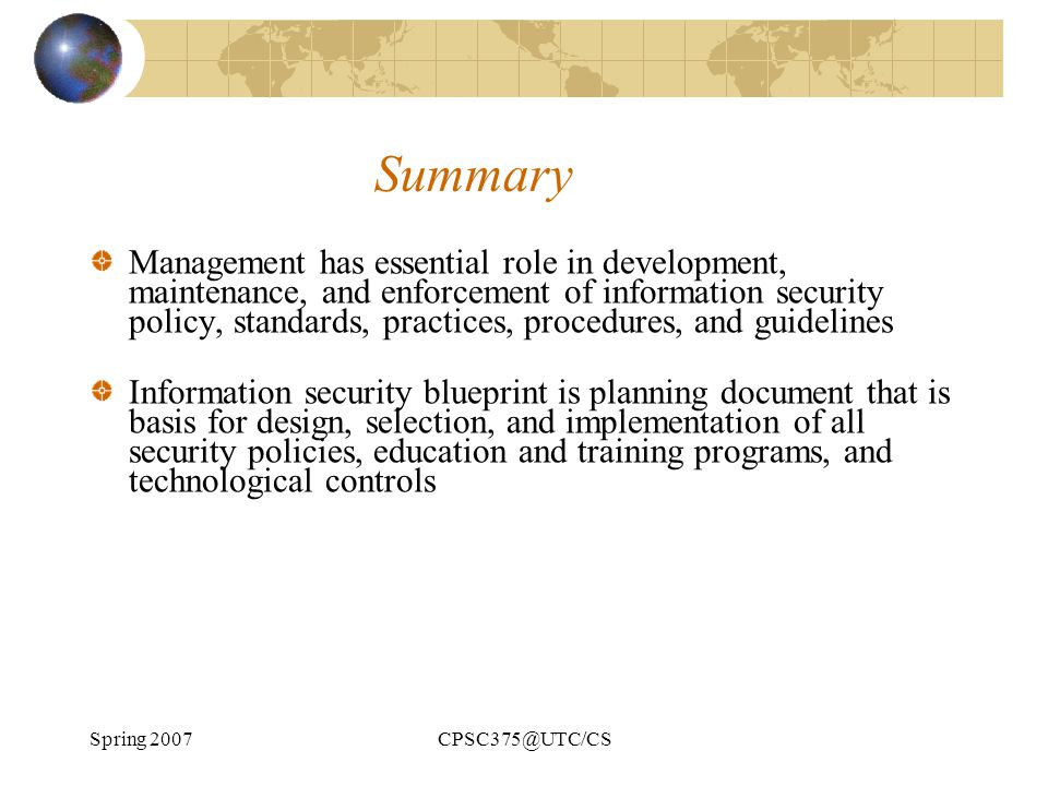 Chapter 5 planning for security ppt download 77 summary management malvernweather Images
