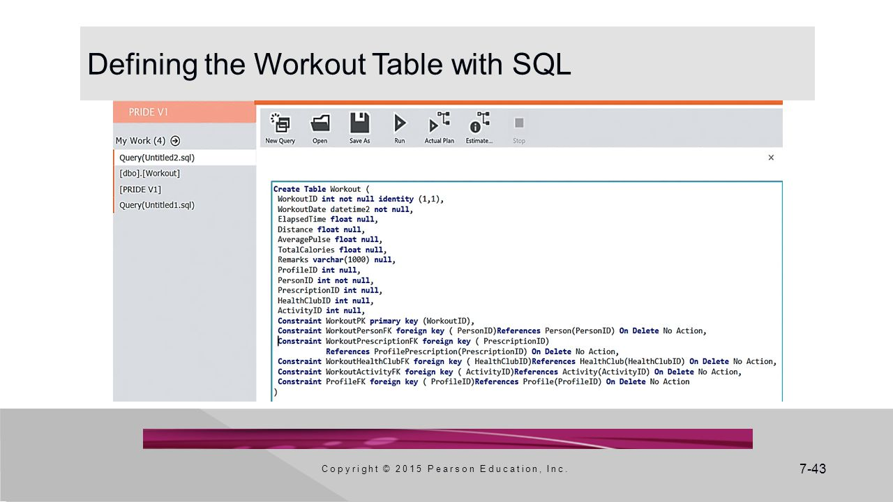 Defining the Workout Table with SQL