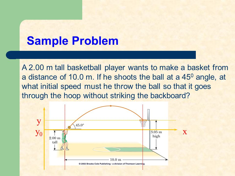 Sample Problem A 2.00 m tall basketball player wants to make a basket from. a distance of 10.0 m. If he shoots the ball at a 450 angle, at.