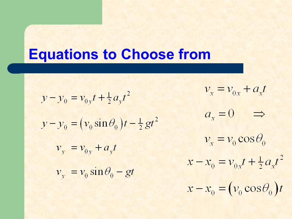 Equations to Choose from