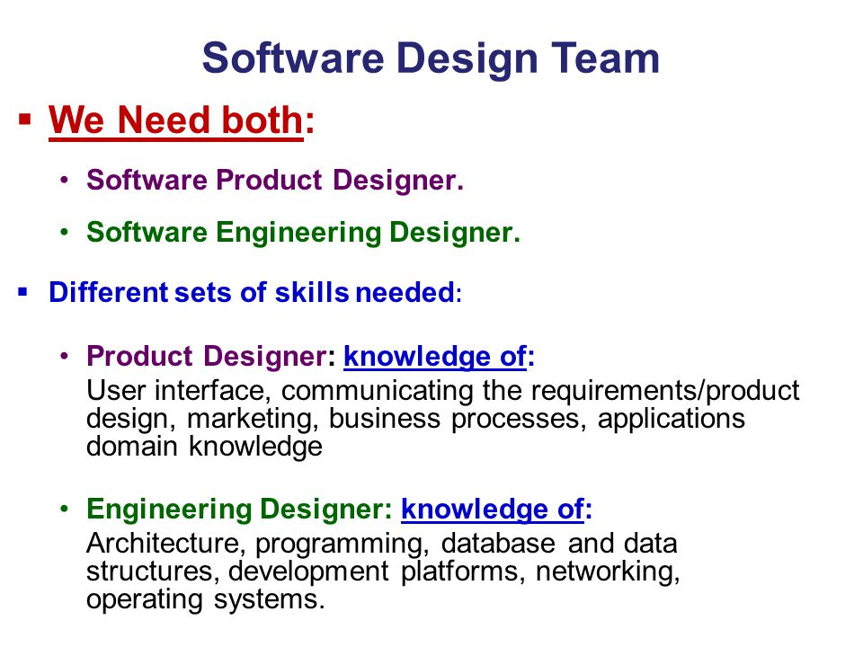 Software Design Team We Need both: Software Product Designer.