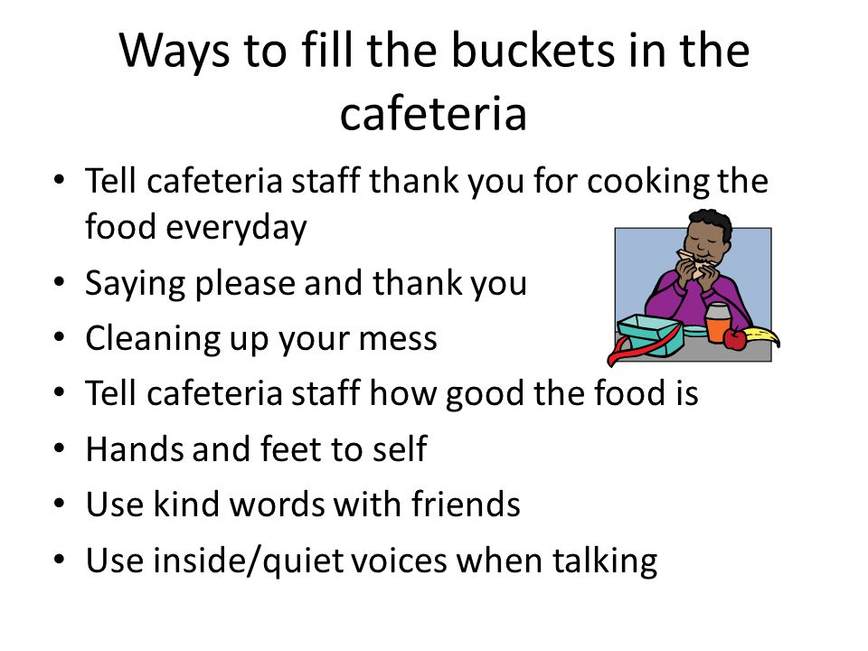 Ways to fill the buckets in the cafeteria