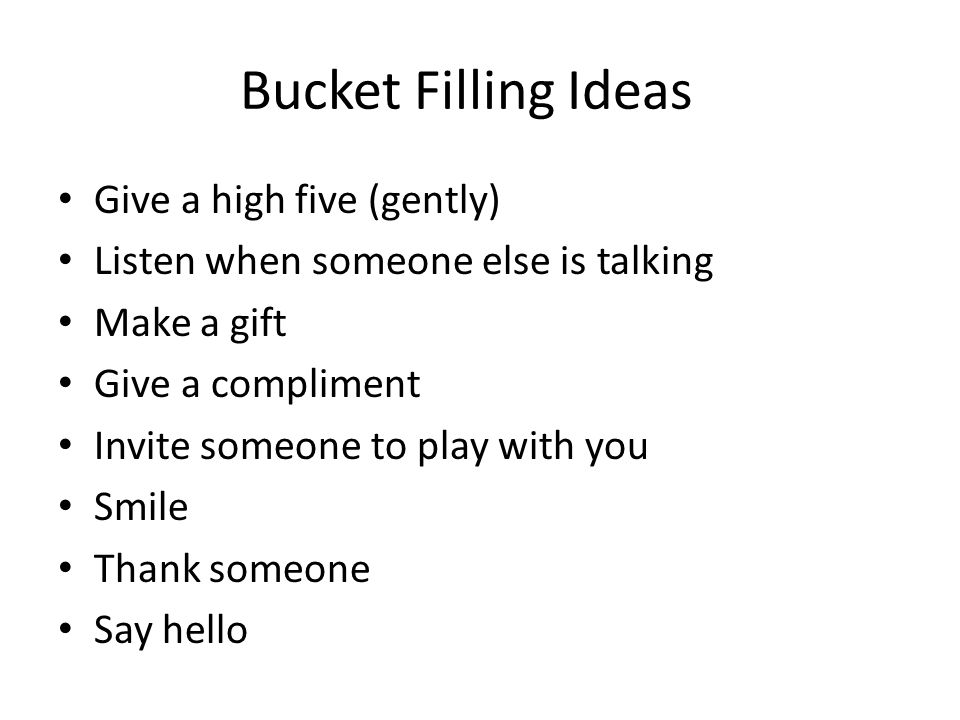 Bucket Filling Ideas Give a high five (gently)