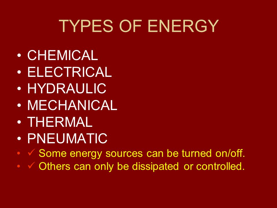 TYPES OF ENERGY CHEMICAL ELECTRICAL HYDRAULIC MECHANICAL THERMAL