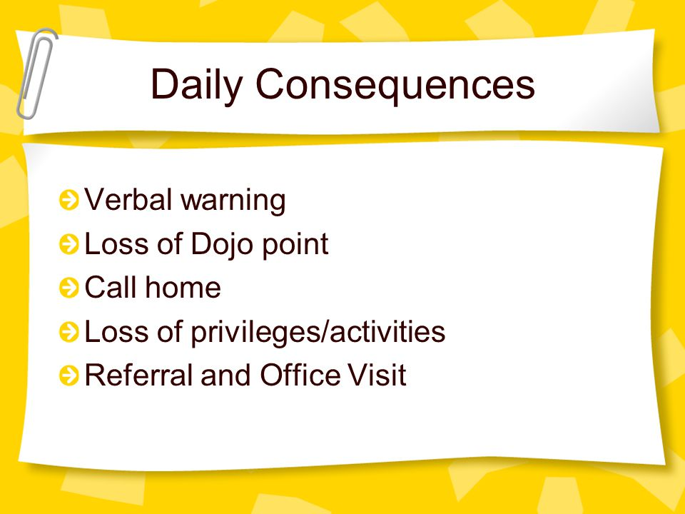 Daily Consequences Verbal warning Loss of Dojo point Call home