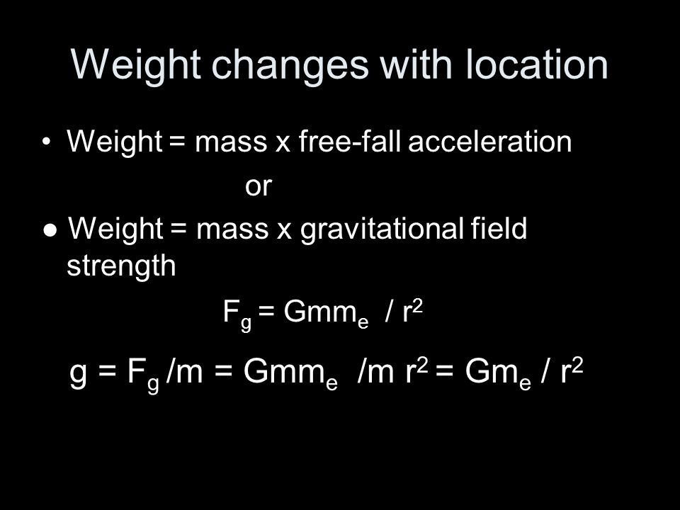 Weight changes with location