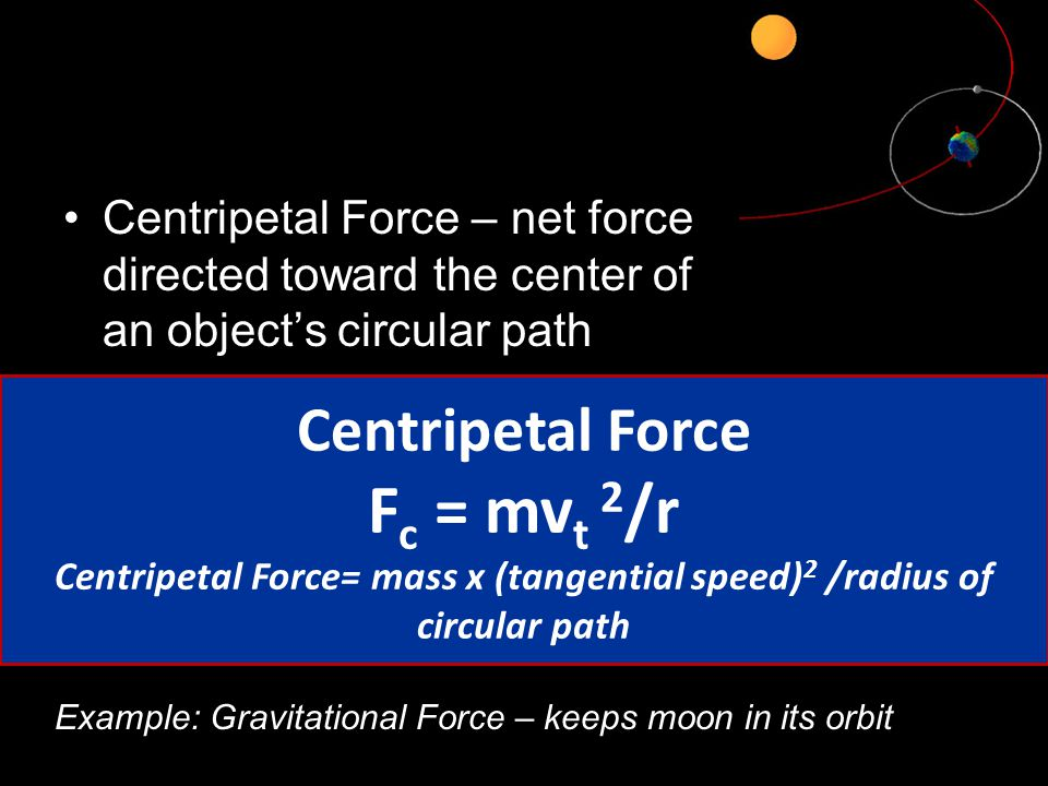 Centripetal Force= mass x (tangential speed)2 /radius of circular path