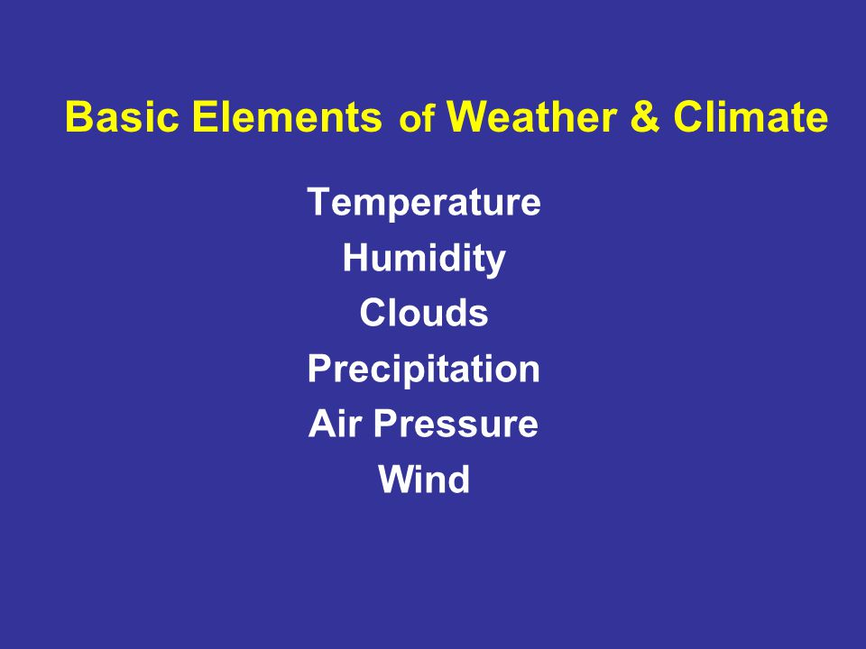 Basic Elements Of Weather Climate