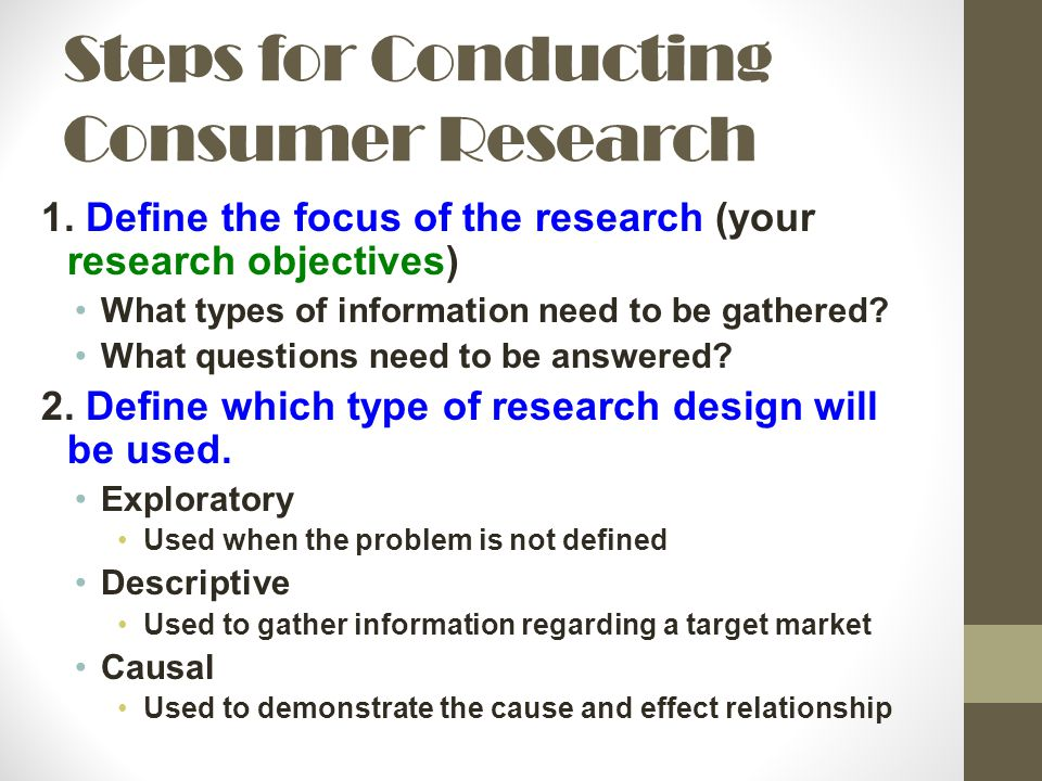 Steps for Conducting Consumer Research