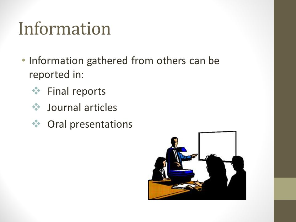 Information Information gathered from others can be reported in: