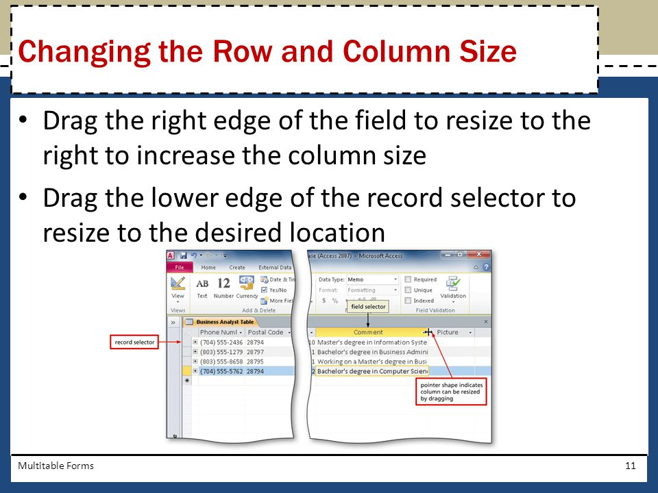 Changing the Row and Column Size