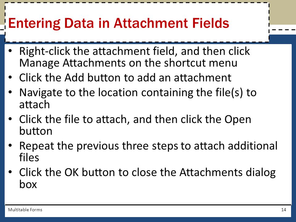 Entering Data in Attachment Fields