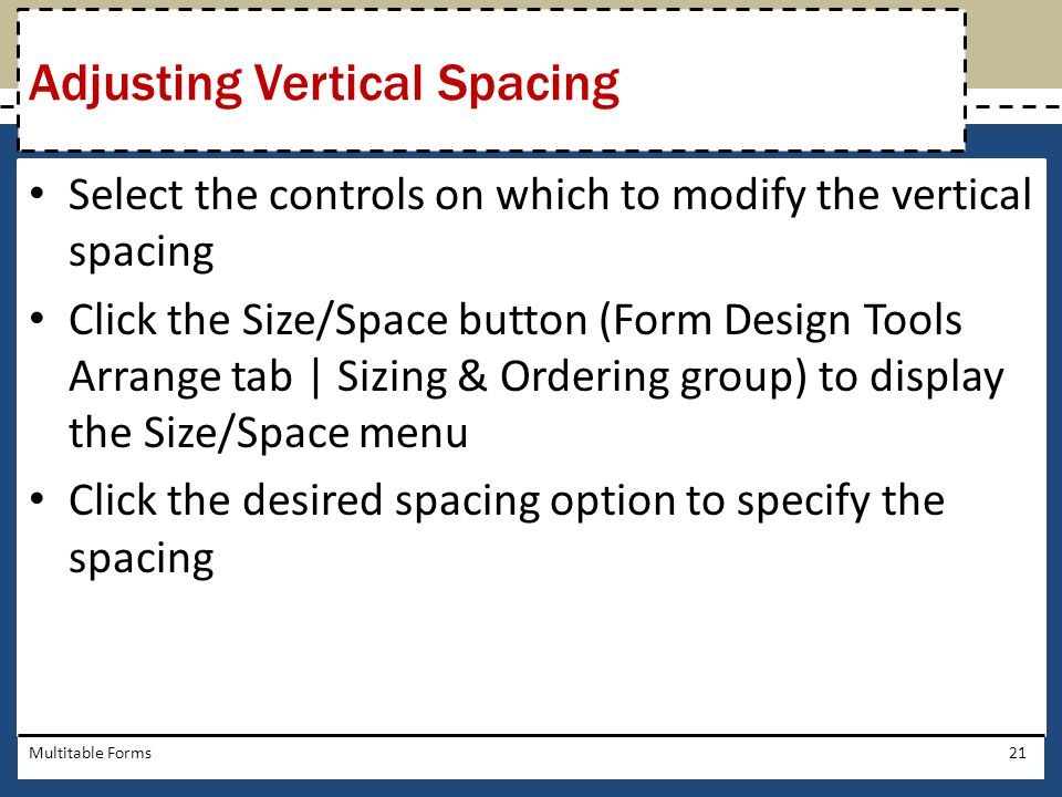 Adjusting Vertical Spacing