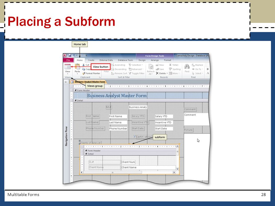 Placing a Subform Multitable Forms
