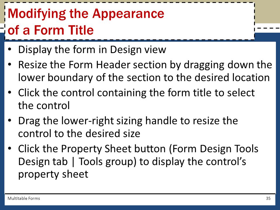 Modifying the Appearance of a Form Title